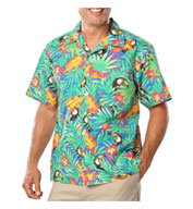 Custom Mens Stain Release, Tropical Print Camp Shirts