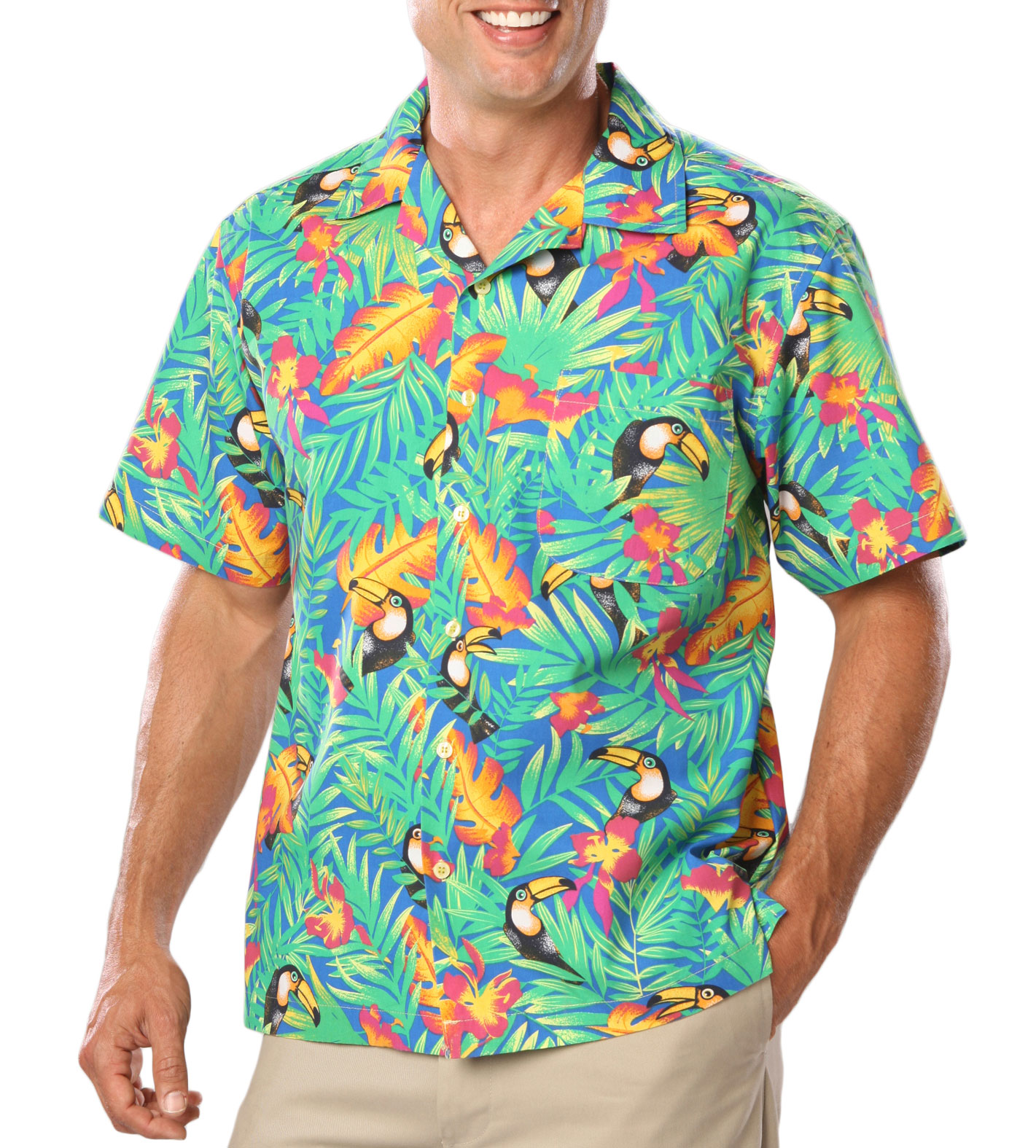 Mens Stain Release, Tropical Print Camp Shirts