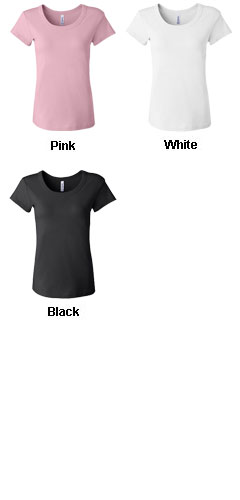 Bella Ladies 1 X 1 Rib Scoop Neck Cap Sleeve Tee - All Colors