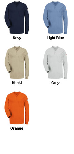 Bulwark® Longsleeve Henley Shirt - All Colors