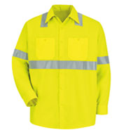 Custom Red Kap Long-Sleeve Hi-Vis Shirt with Reflective Striping