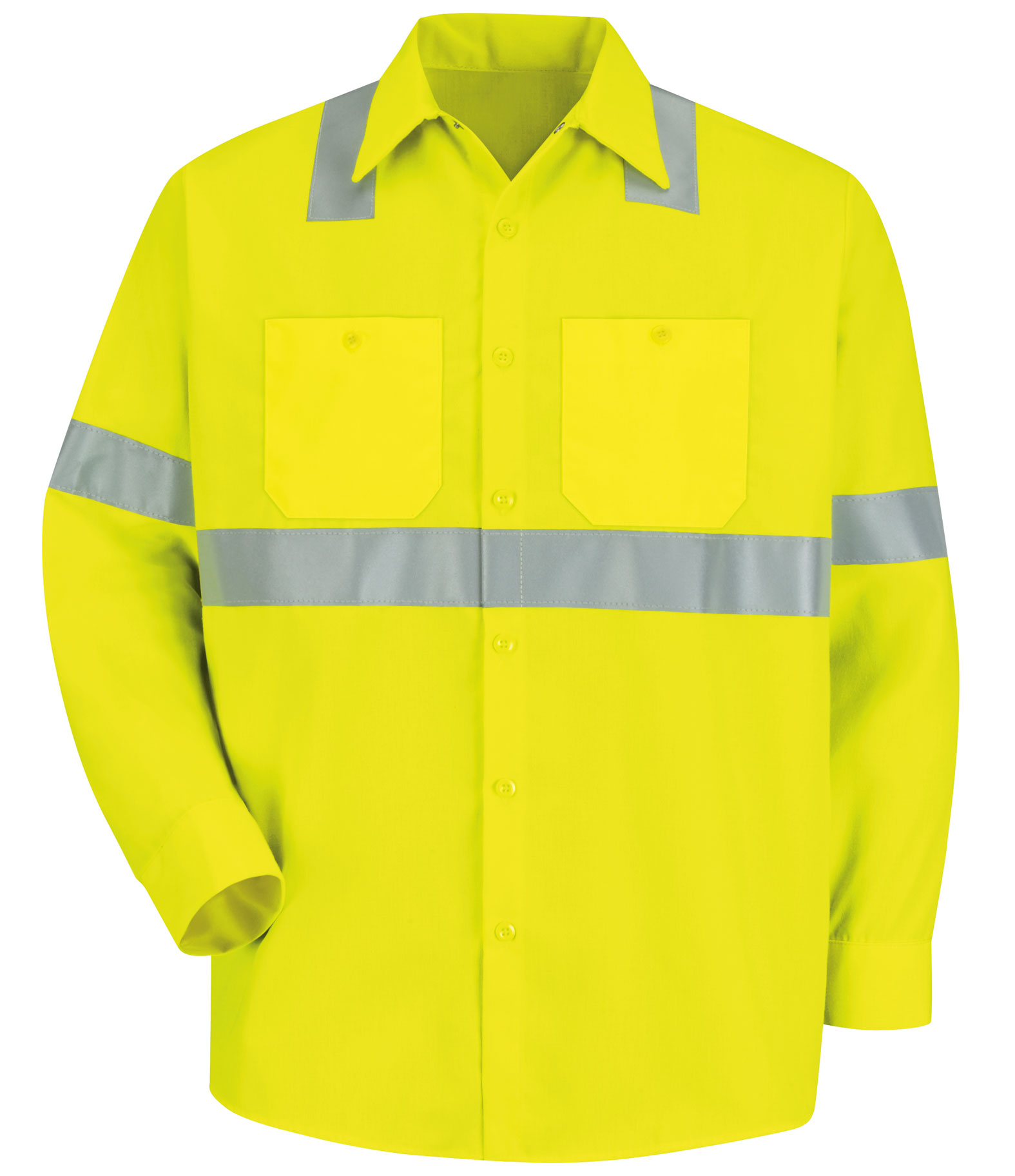 Red Kap Long-Sleeve Hi-Vis Shirt with Reflective Striping