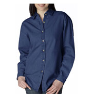 Custom UltraClub Ladies Cypress Denim Shirt