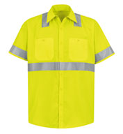 Custom Red Kap Mens ANSI 107-2004 Class 2 Level 2 Compliant Hi-Visibility Shirt