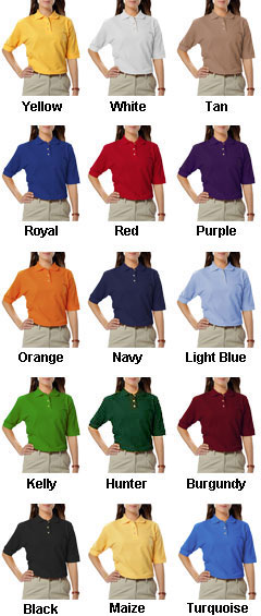 Ladies Teflon Treated Pique Polo NO Pocket - All Colors