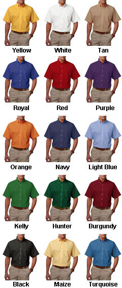 Mens Short Sleeve Teflon Twill Shirt - All Colors