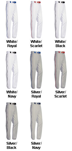 Adult Piped 12 oz Polyester Baseball Pants - All Colors