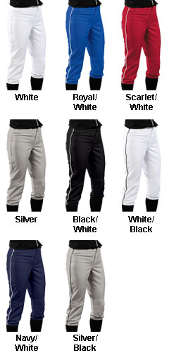 Girls Low Rise 12 oz. Polyester Softball Pants - All Colors