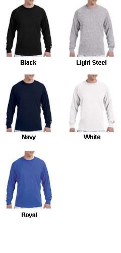 Champion 100% Jersey Long Sleeve Tagless Tee - All Colors