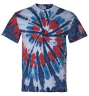 Custom Tie-Dyed Multi-Color Cut-Spiral Adult Short Sleeve T-shirt