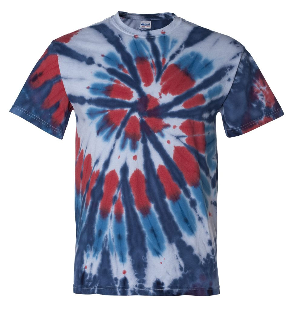 Tie-Dyed Multi-Color Cut-Spiral Adult Short Sleeve T-shirt
