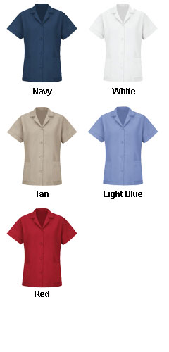 Womens Loose Fit Short Sleeve Button Smock - All Colors