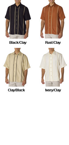 Cubavera Diagonal Twill Camp Shirt with Inset Panels - All Colors