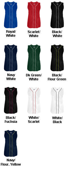 Womens Tag Up Full Button Sleeveless Softball Jersey - All Colors