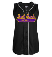 Custom Womens Tag Up Full Button Sleeveless Softball Jersey