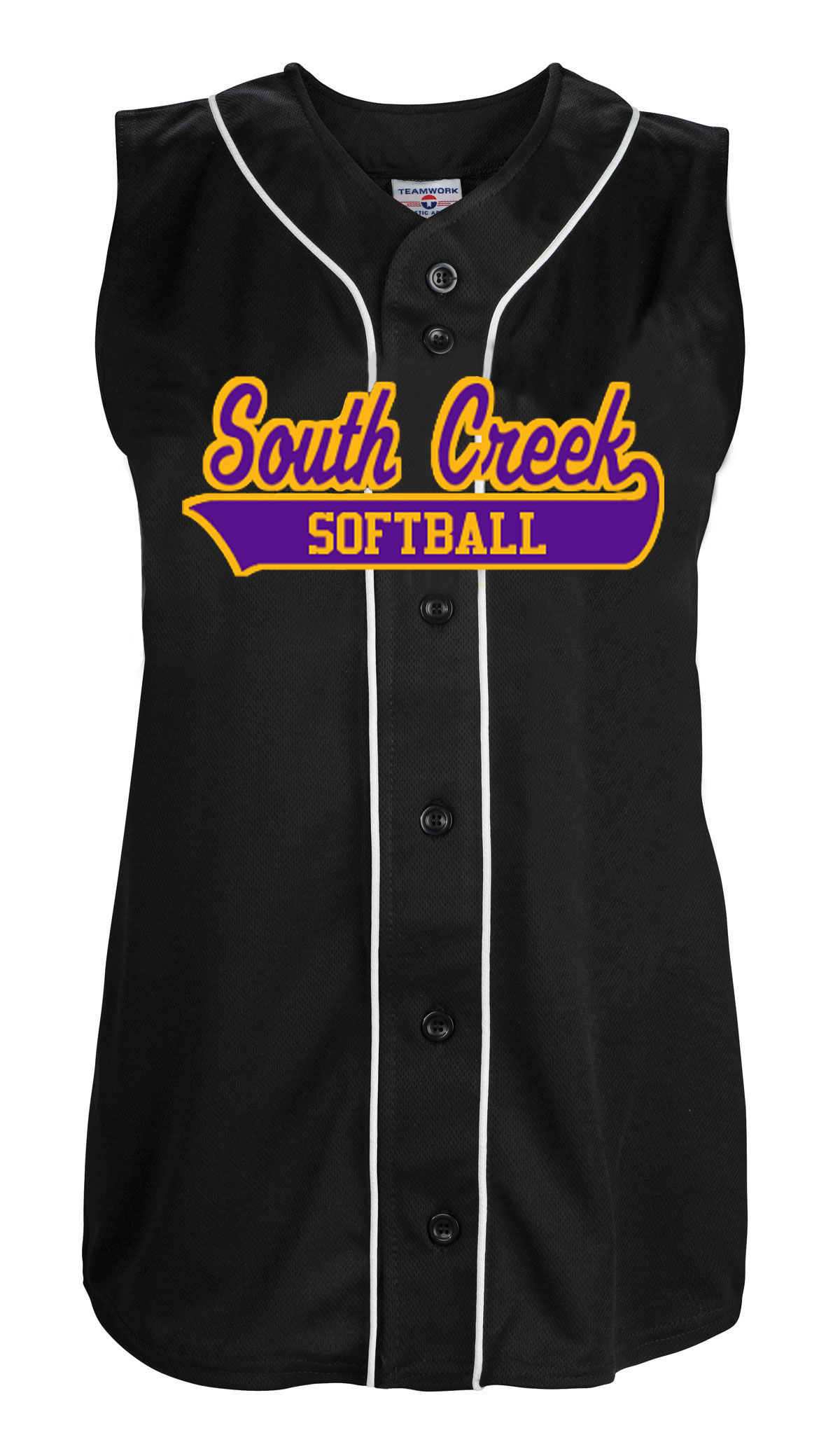 Teamwork Womens Tag Up Full Button Sleeveless Softball Jersey - CLOSEOUT