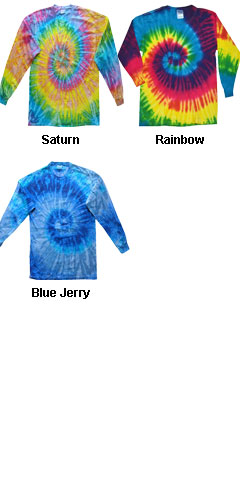 Hanes Long Sleeve Spiral Tie Dye Tshirts - All Colors