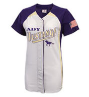 Womens Pulse Faux Full Button Down Softball Jersey