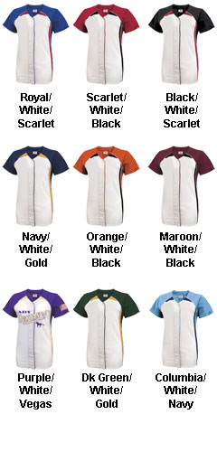 Youth Girls Pulse Short Sleeve Faux Full Button Down Softball Jersey - All Colors