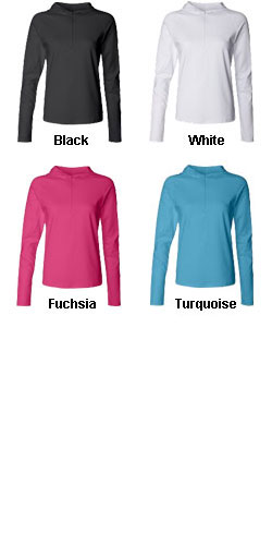Bella - Ladies Cotton/Spandex ½ Zip Hooded Pullover - All Colors