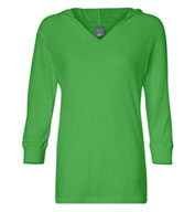 J. America - Ladies ¾ Sleeve Hooded Slub Tee