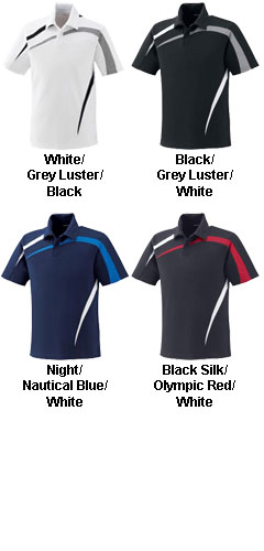 Mens Performance Polyester Pique Color-Block Polo - All Colors