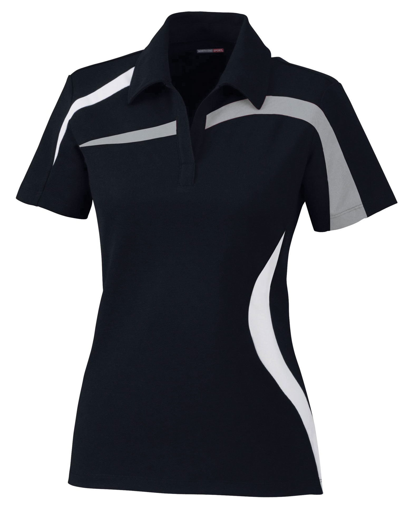 Ladies Performance Polyester Pique Color-Blocked Polo