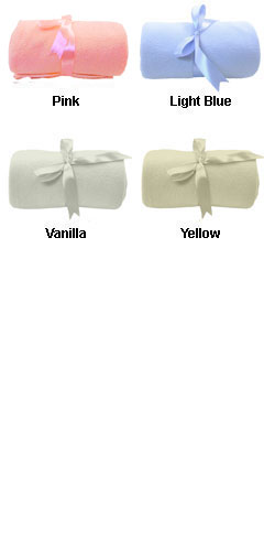 Fleece Baby Blanket with Ribbon Tie - All Colors