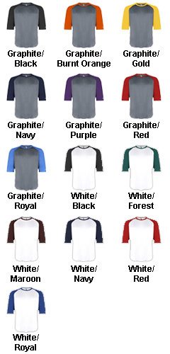 Badger 3/4 Sleeve Moisture Wicking Baseball Shirt - All Colors