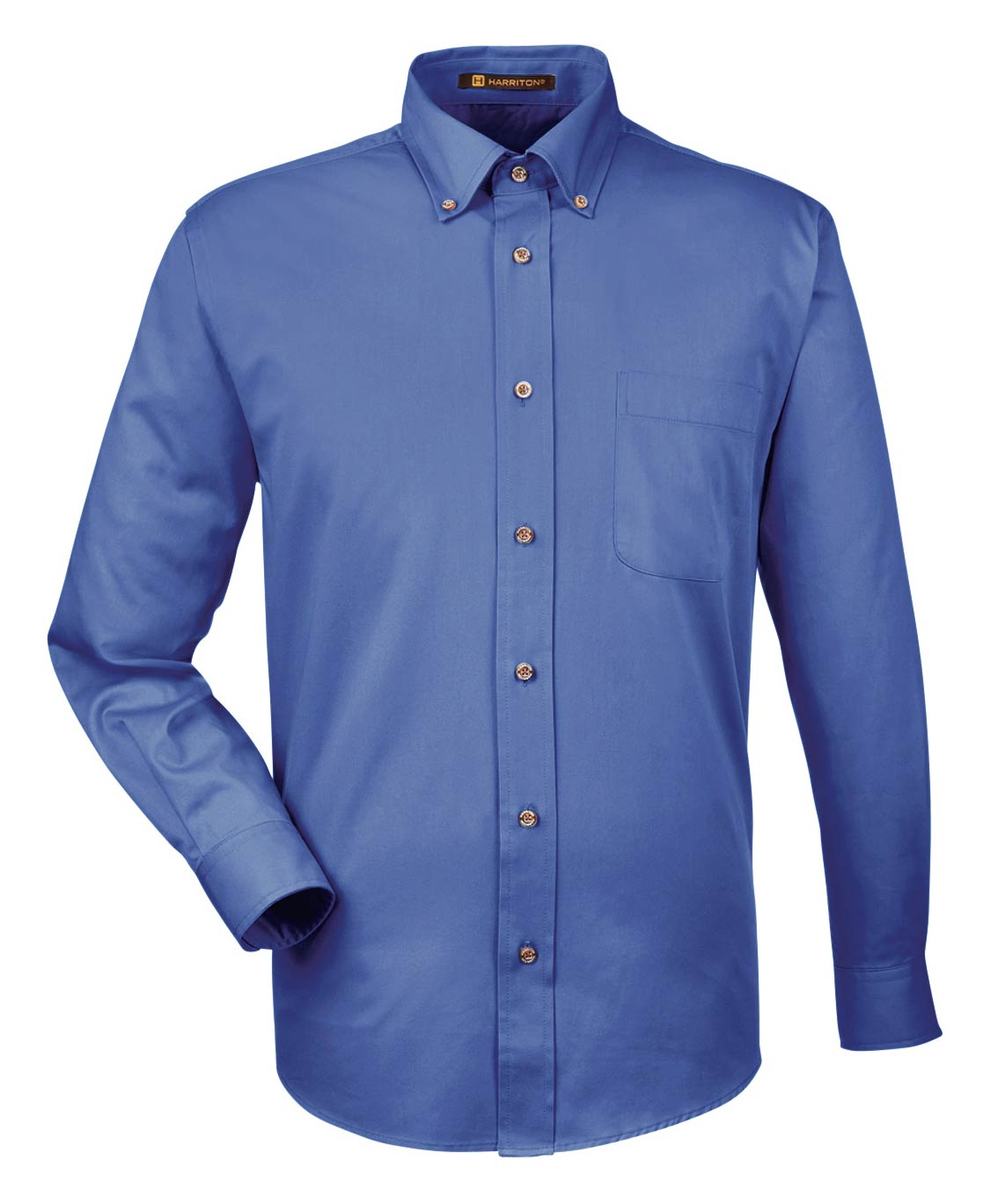 Harriton Mens Long-Sleeve Twill Shirt with Stain-Release