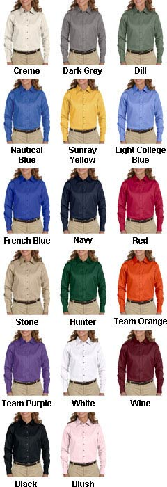 Harriton Ladies Long-Sleeve Twill Shirt with Stain-Release - All Colors