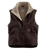 Custom Carhartt Sandstone Mock-Neck Vest with Sherpa Lining Mens