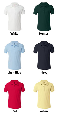 French Toast - Girls Short Sleeve Picot Polo - All Colors