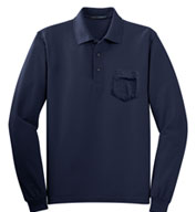 Custom Port Authority® Mens Silk Touch™ Long Sleeve Polo with Pocket