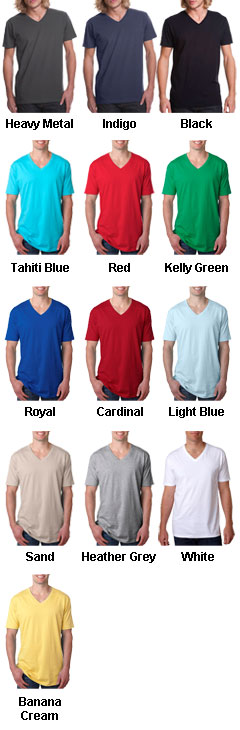 Next Level Mens Premium Fitted Cotton Short-Sleeve V-Neck Tee - All Colors