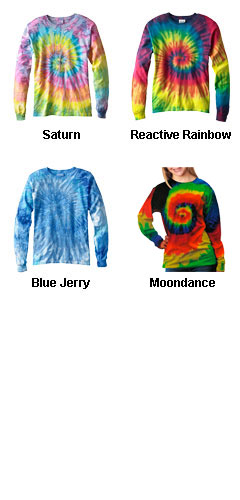 Youth Tie Dye Multi Color Long Sleeve Tshirt - All Colors