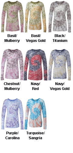 Blue 84 - Juniors Twirl-Dyed Burnout Long Sleeve T-Shirt - All Colors