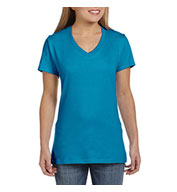 Custom Hanes Ladies 100% Ringspun Cotton Nano V-Neck T-Shirt