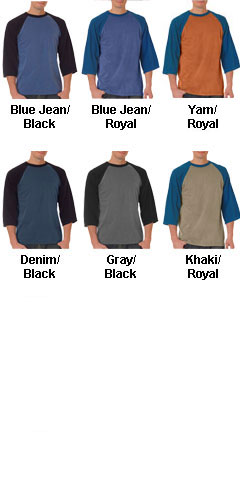Adult Raglan Sleeve Pigment Dyed Tee - All Colors