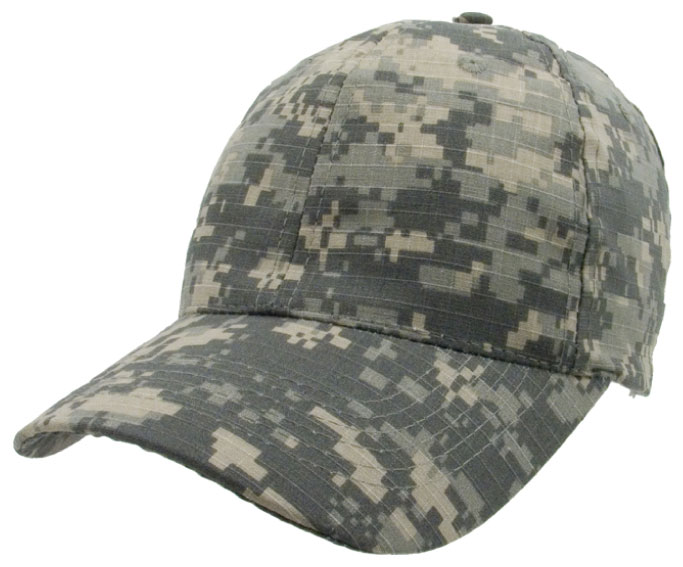 Digital Camo Cap with Adjustable Hook and Loop Back