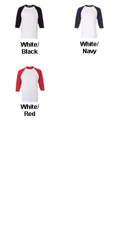 Youth Cotton 3/4 Sleeve Baseball Tee - All Colors