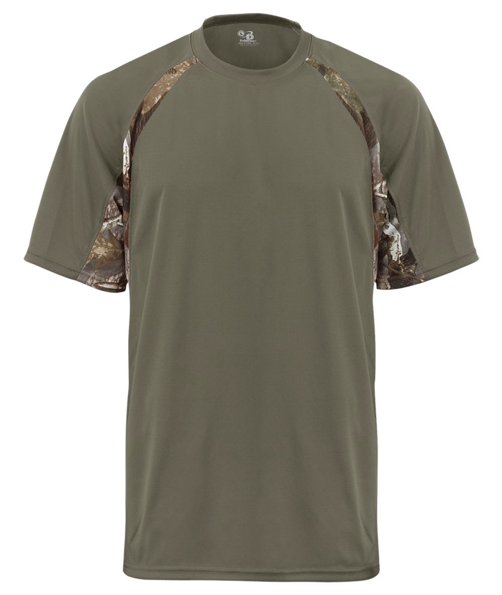Adult Hook Tee with Camo Color Blocking