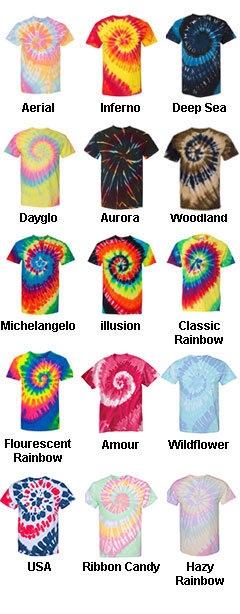 Adult Tie-Dye Neon Pigment-Dyed Spiral Tee  - All Colors