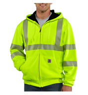 Custom Carhartt ANSI Class 3, High Visibility Zip-Front Mens Thermal Lined Sweatshirt Mens