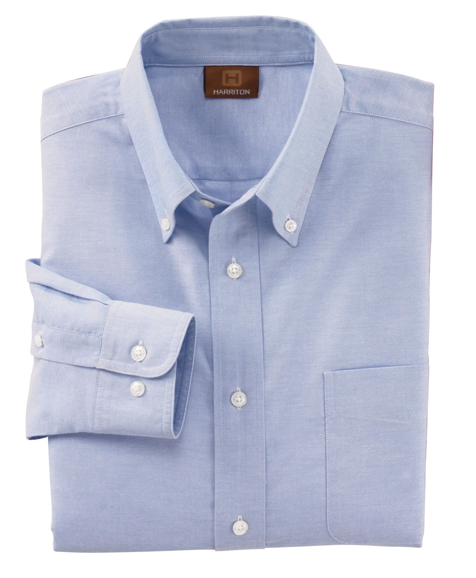 Men's Long Sleeve Oxford Shirt with Stain-Release