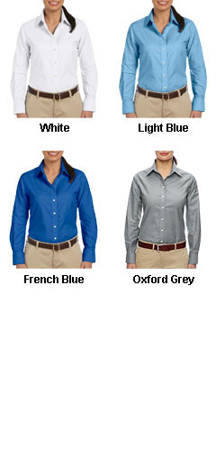 Ladies Long Sleeve Oxford Shirt with Stain-Release - All Colors