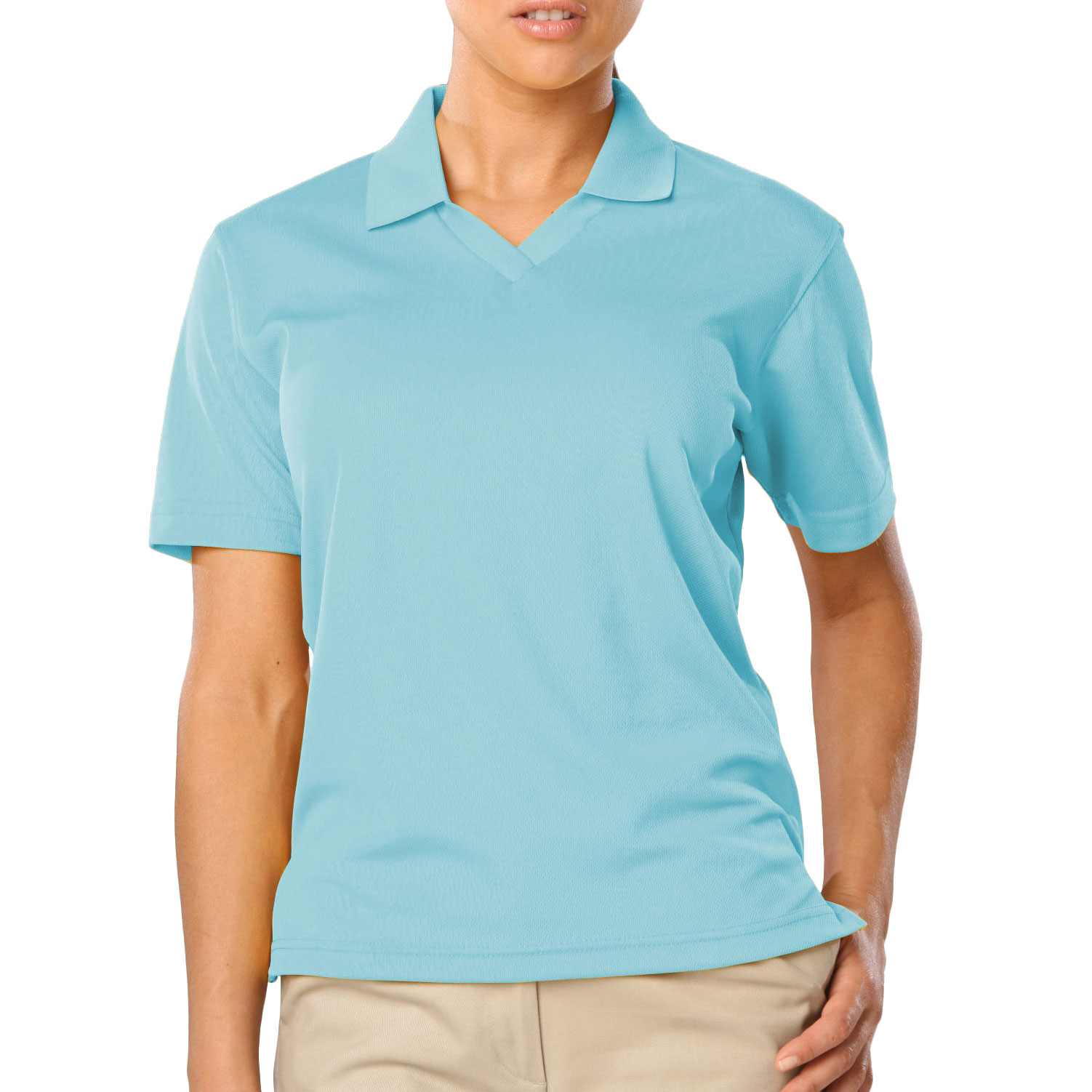 Ladies Superblend V-Neck Pique Polo