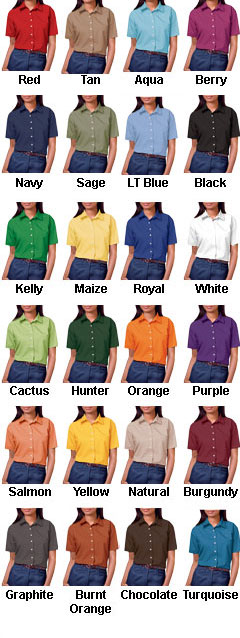 Ladies Short Sleeve Stain Release Poplin - All Colors