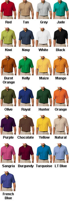 Mens Tall Egyptian Ringspun Cotton Pique Polos - All Colors