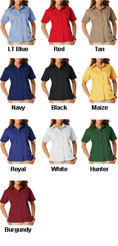 Ladies Short Sleeve Budget Friendly Poplin Shirt  - All Colors